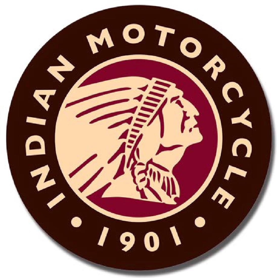 "INDIAN MOTORCYCLES METAL SIGN 12"" ROUND"