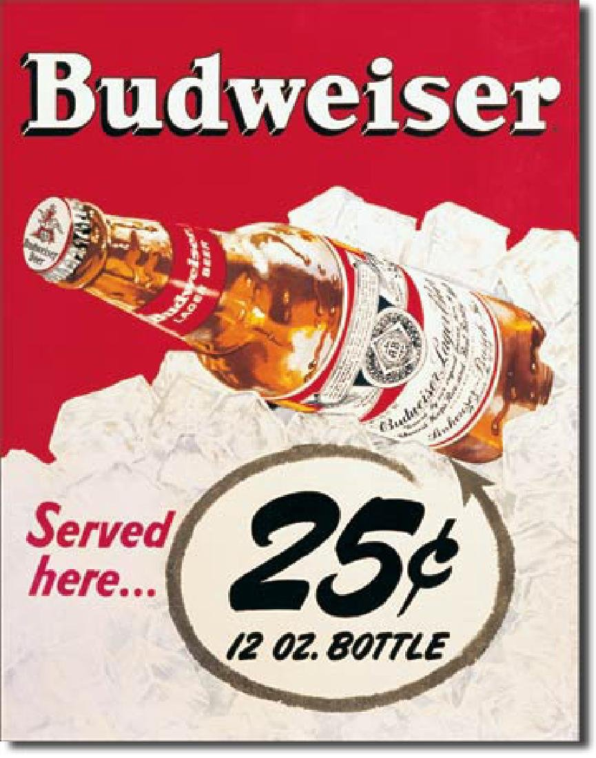 "BUDWEISER METAL SIGN 12.5"" X 16"""