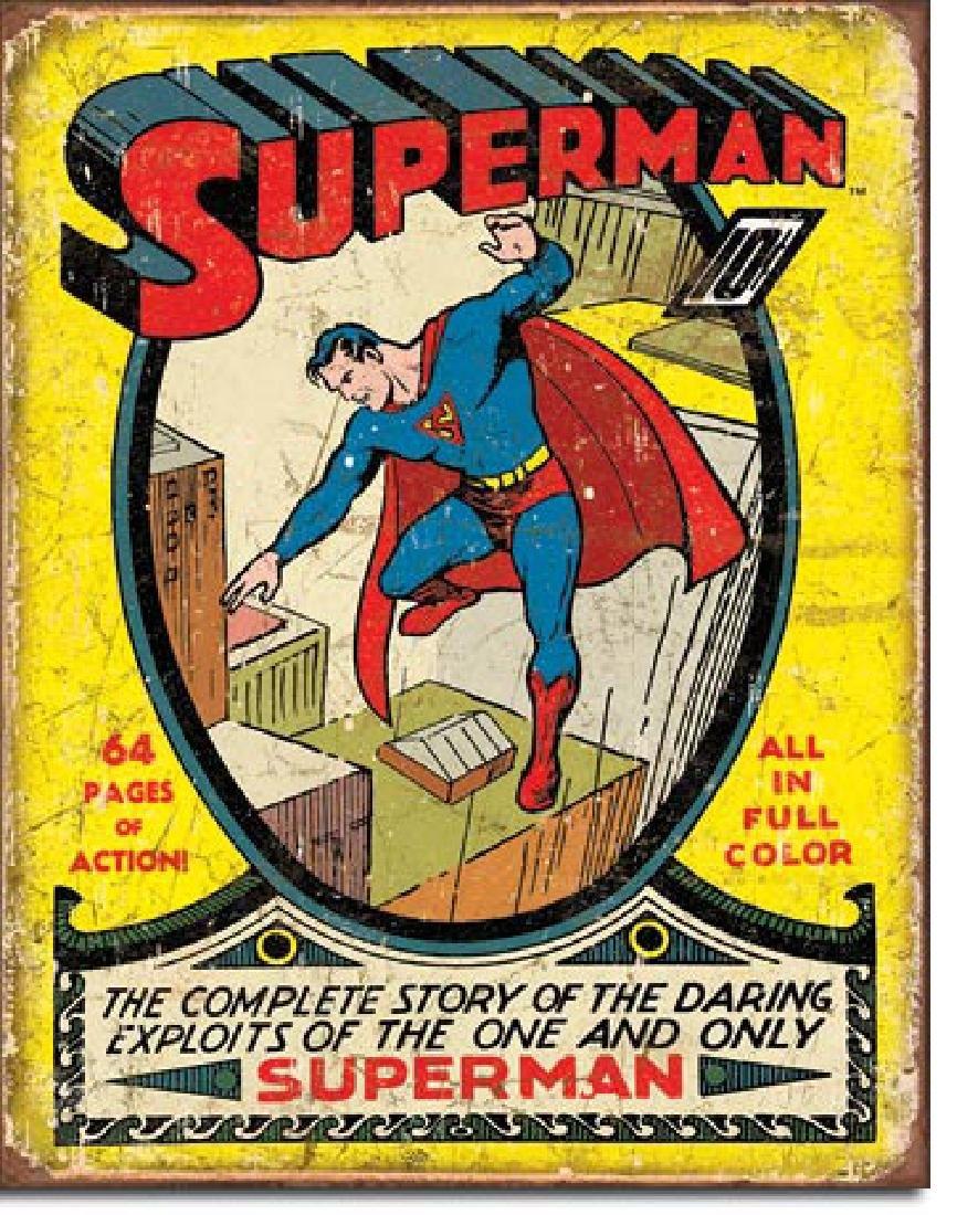 """SUPERMAN METAL SIGN 12.5"""" X 16"""""""
