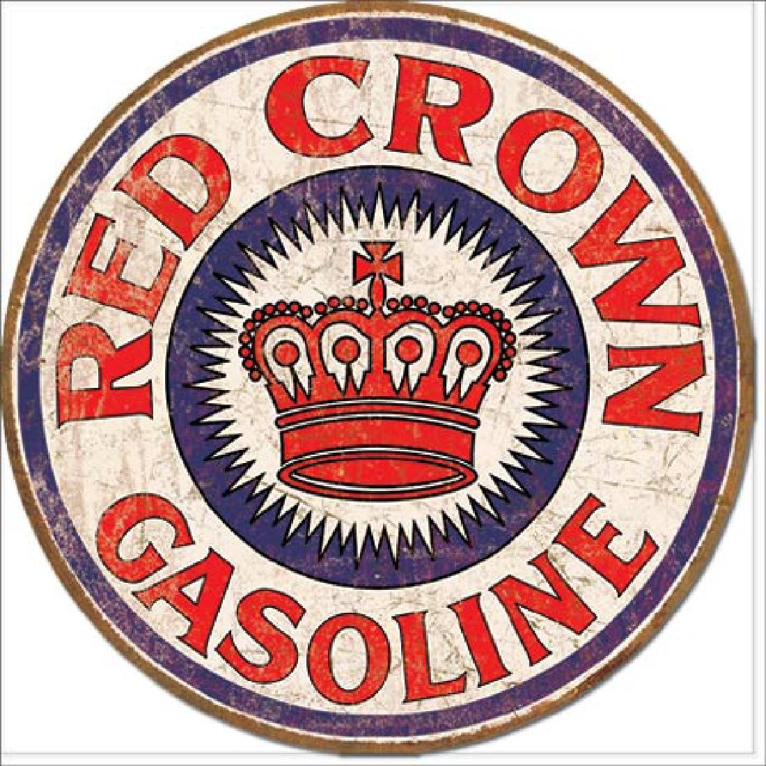 """RED CROWN GAS METAL SIGN 12"""" ROUND"""