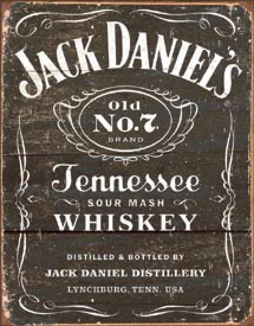 "JACK DANIELS METAL SIGN 12.5"" X 16"""
