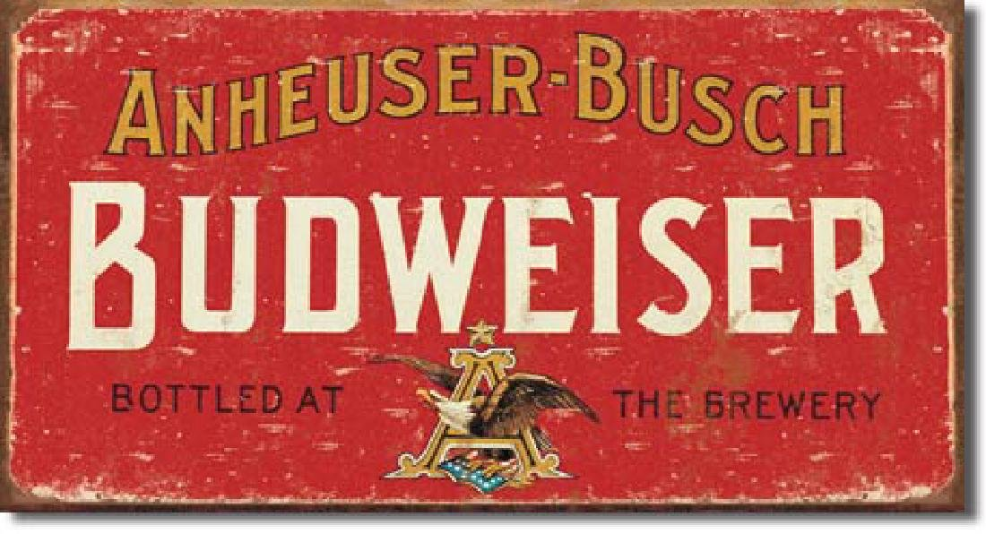 """BUDWEISER METAL SIGN 8.5"""" X 16"""""""