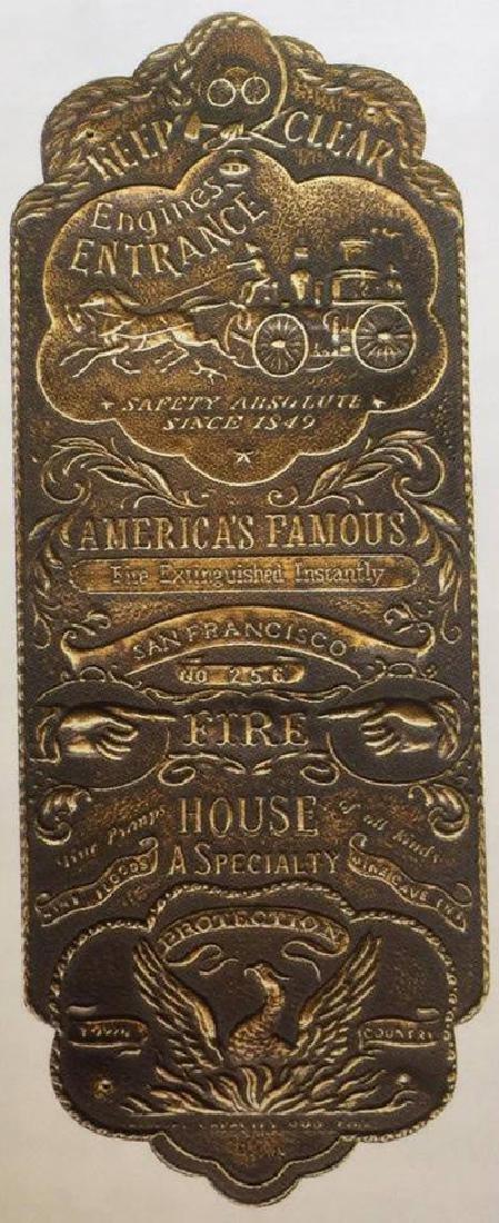 "SOLID BRASS EMBOSSED FIREHOUSE DOOR PLAQUE - 10"" TALL"