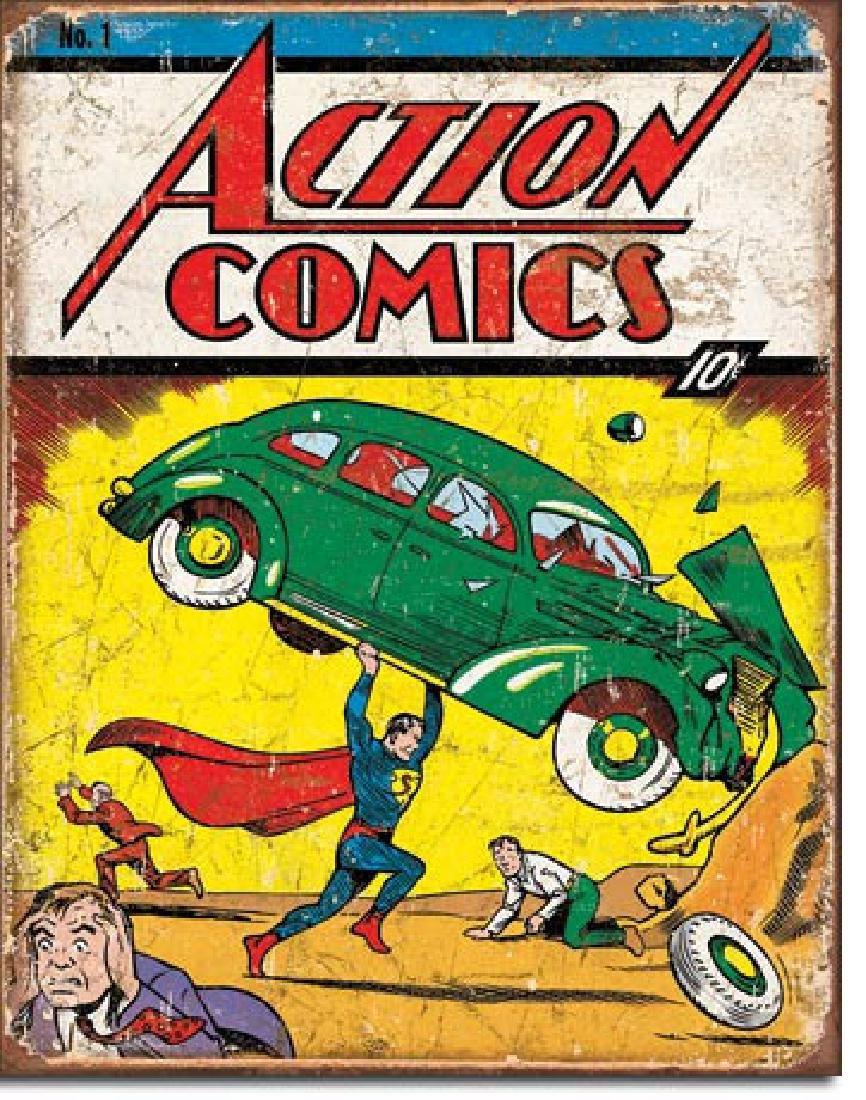 """ACTION COMICS METAL SIGN 12.5"""" X 16"""""""