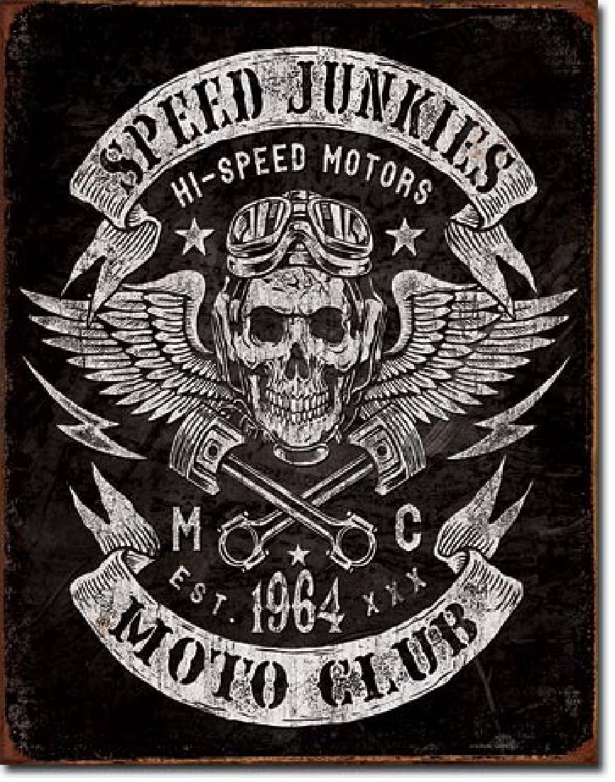 "SPEED JUNKIES METAL SIGN 12.5"" X 16"""