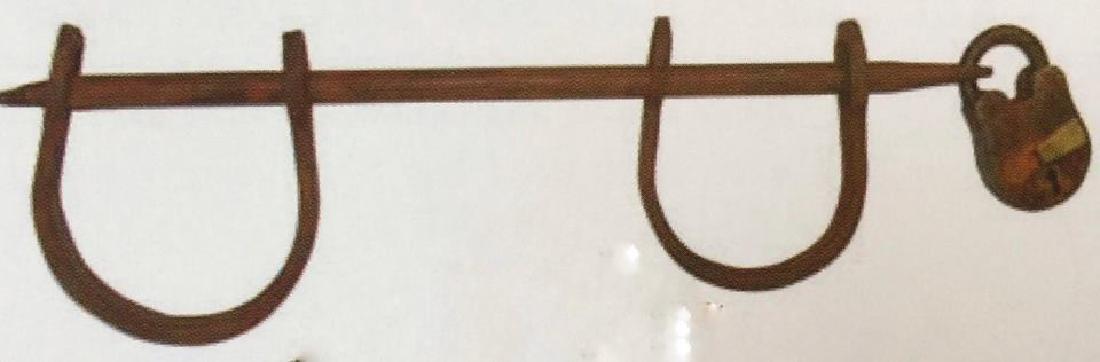 "CAST IRON SLAVE CUFFS W/ LOCK AND KEY - 13"" LONG"