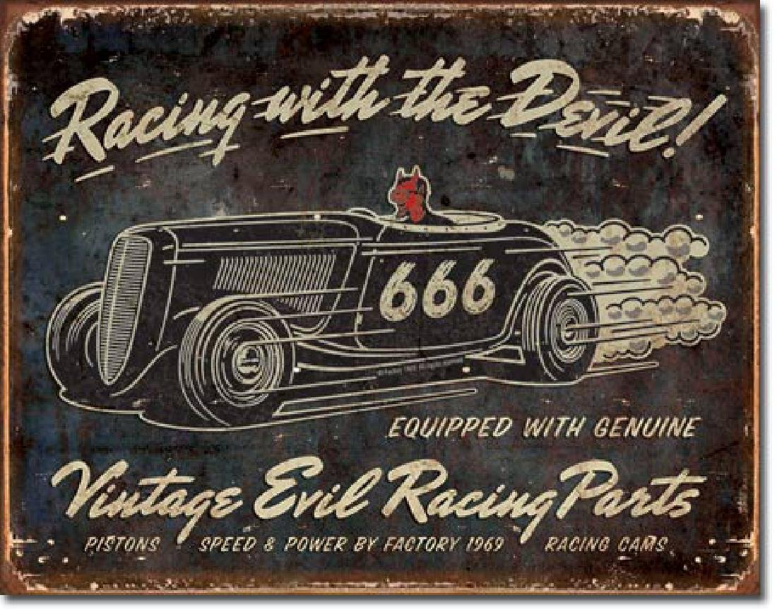 "RACING WITH THE DEVIL METAL SIGN 12.5"" X 16"""
