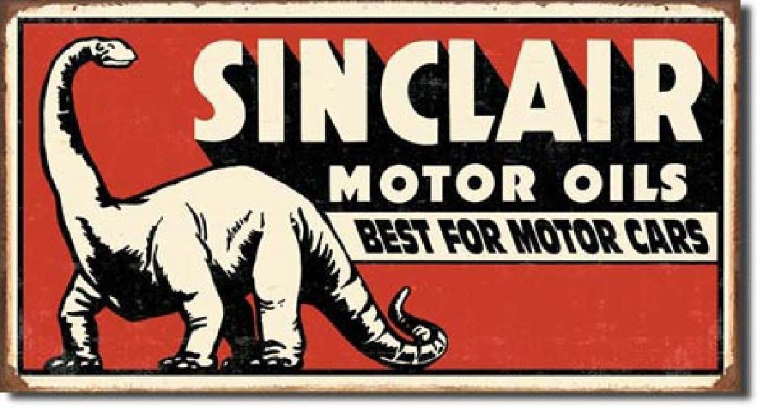 "SINCLAIR MOTOR OILS METAL SIGN 8.5"" X 16"""