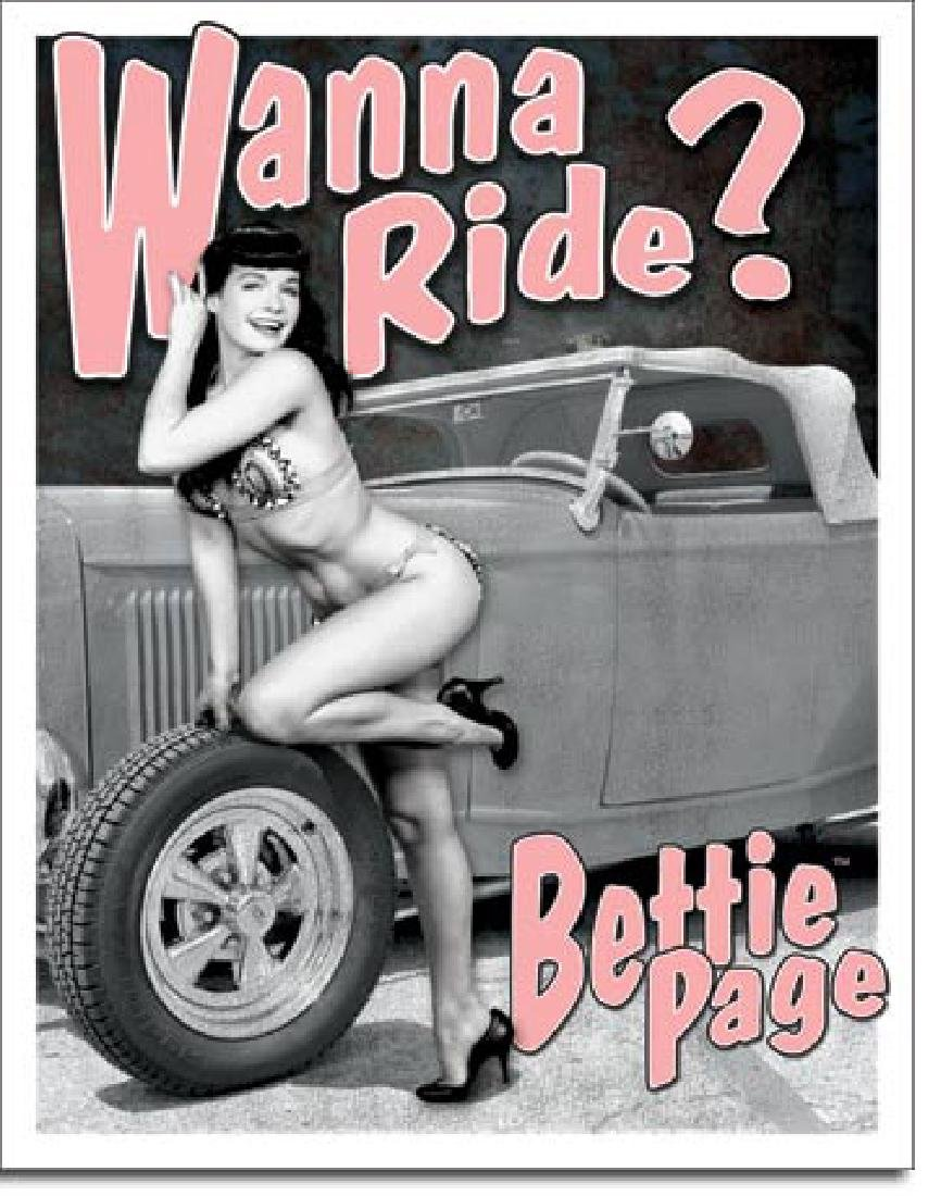"BETTIE PAGE METAL SIGN 12.5"" X 16"""