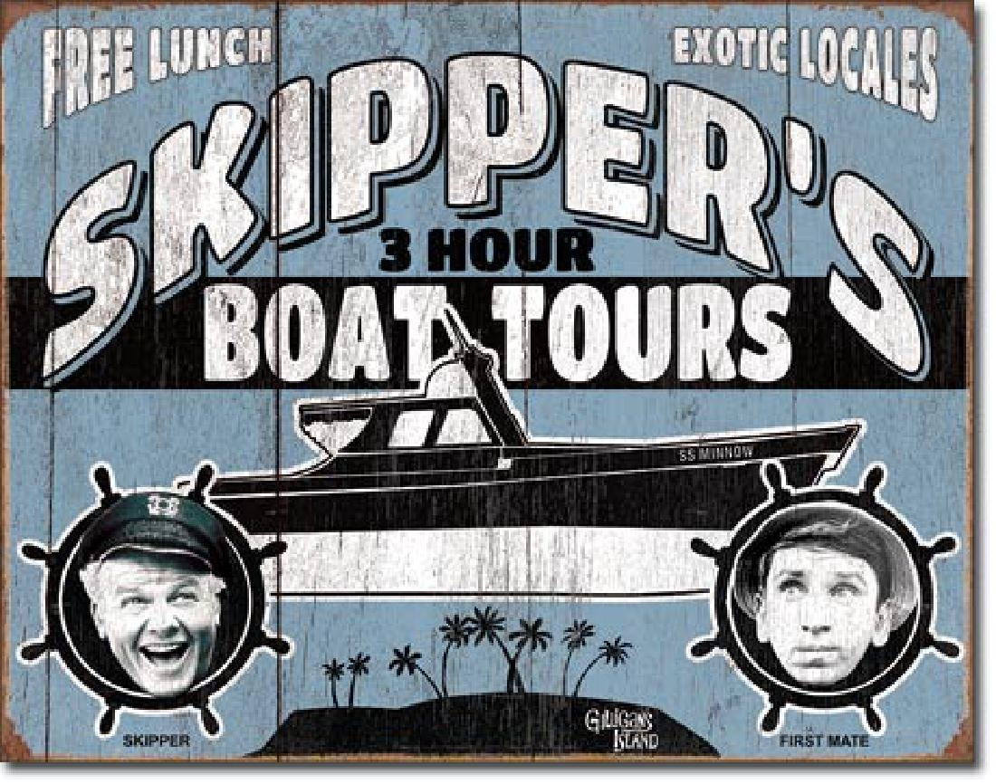 "GILLIGANS ISLAND SKIPPERS BOAT TOURS METAL SIGN 12.5"" X"