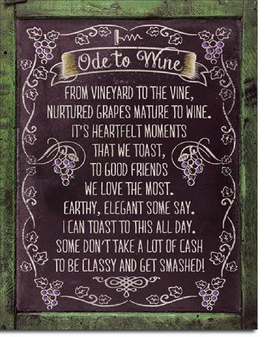 "ODE TO WINE FUNNY METAL SIGN 12.5"" X 16"""