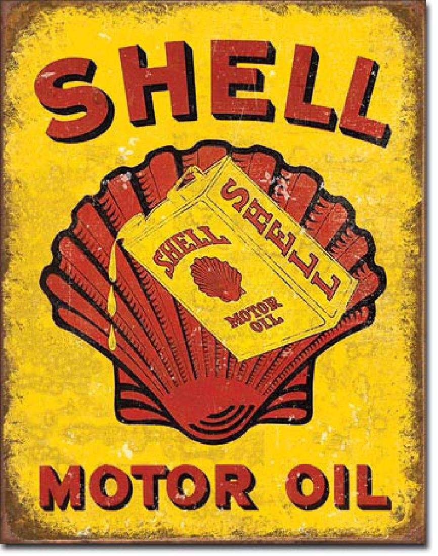 "SHELL MOTOR OIL METAL SIGN 12.5"" X 16"""