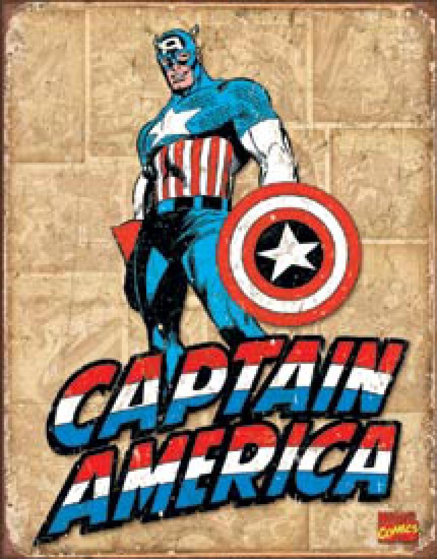 "CAPTAIN AMERICA METAL SIGN 12.5"" X 16"""