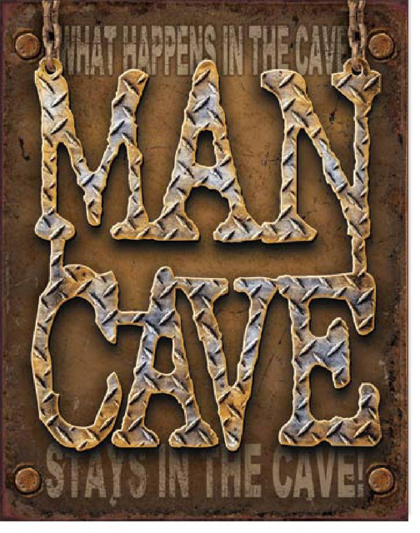 "MAN CAVE METAL SIGN 12.5"" X 16"""