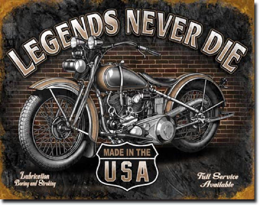 "LEGENDS NEVER DIE METAL SIGN 12.5"" X 16"""