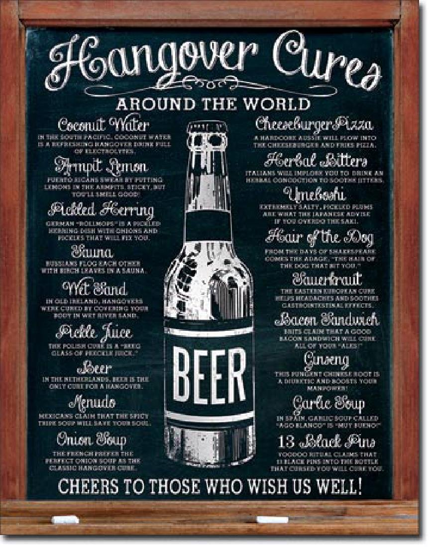 "HANGOVER CURES METAL SIGN 12.5"" X 16"""