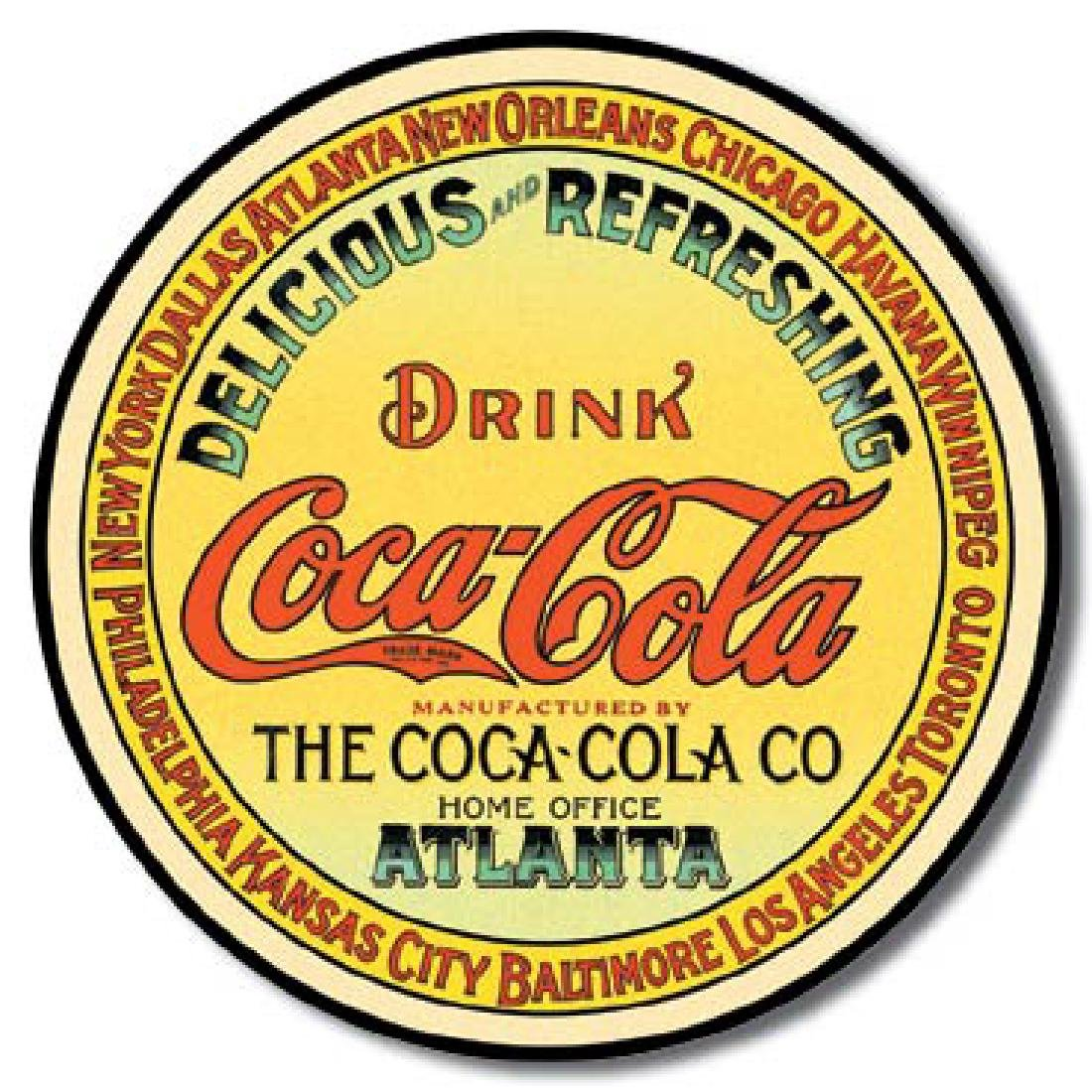 "COCA COLA METAL SIGN 12"" ROUND"