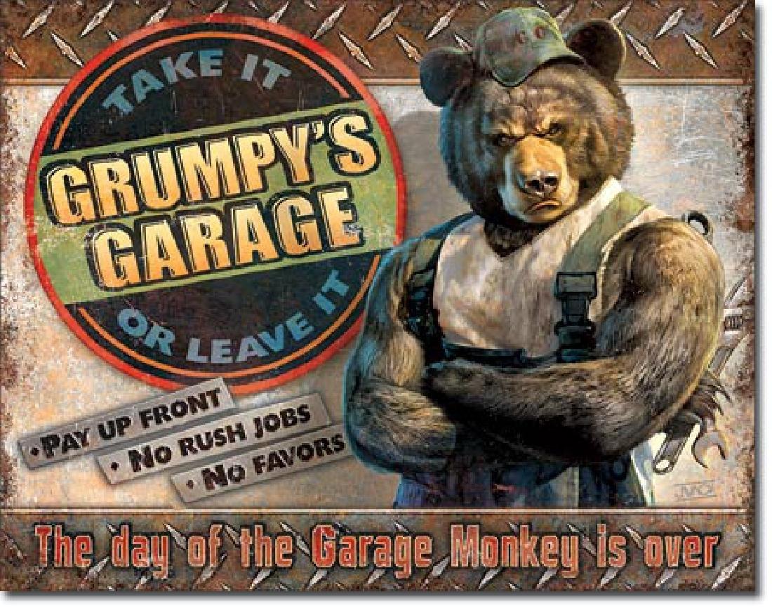 """GRUMPYS GARAGE METAL SIGN 12.5"""" X 16"""""""