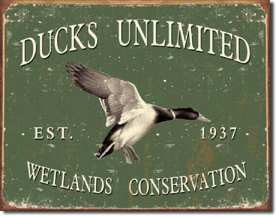 "DUCKS UNLIMITED METAL SIGN 12.5"" X 16"""