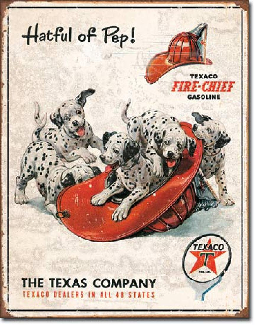 "TEXACO FIRE CHIEF METAL SIGN 12.5"" X 16"""