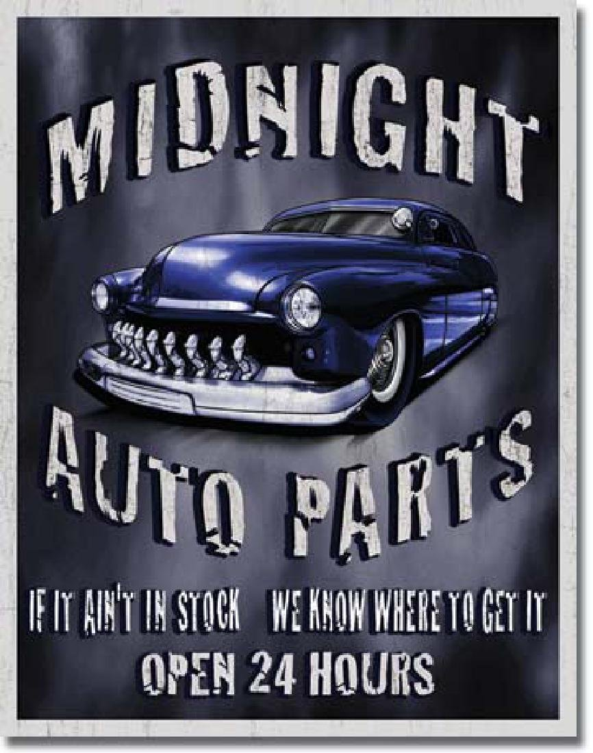 "MIDNIGHT AUTO PARTS METAL SIGN 12.5"" X 16"""