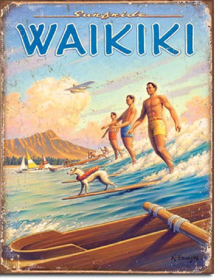 """WAIKIKI METAL SIGN 12.5"""" X 16"""""""