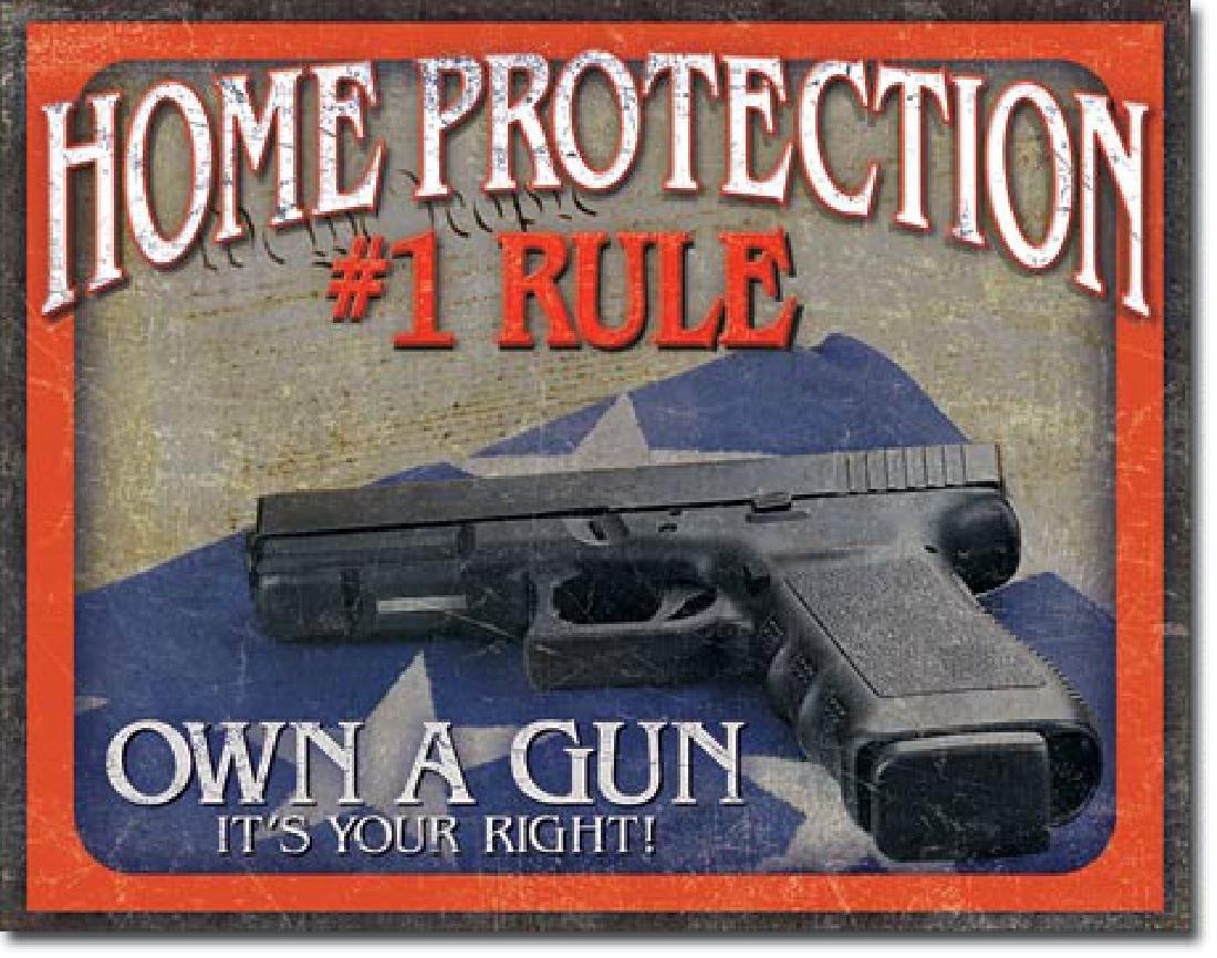 "HOME PROTECTION GUN METAL SIGN 12.5"" X 16"""