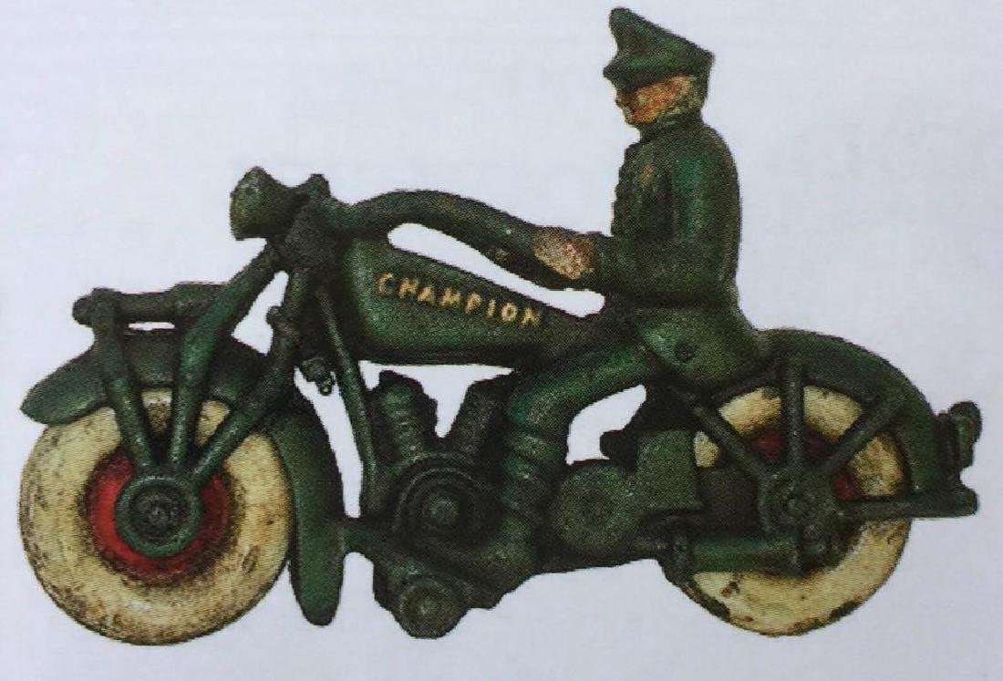 """CHAMPION CAST IRON MOTORCYCLE TOY - 7"""" LONG"""