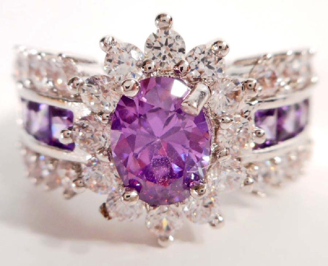 STERLING SILVER AMETHYST RING - SIZE 9