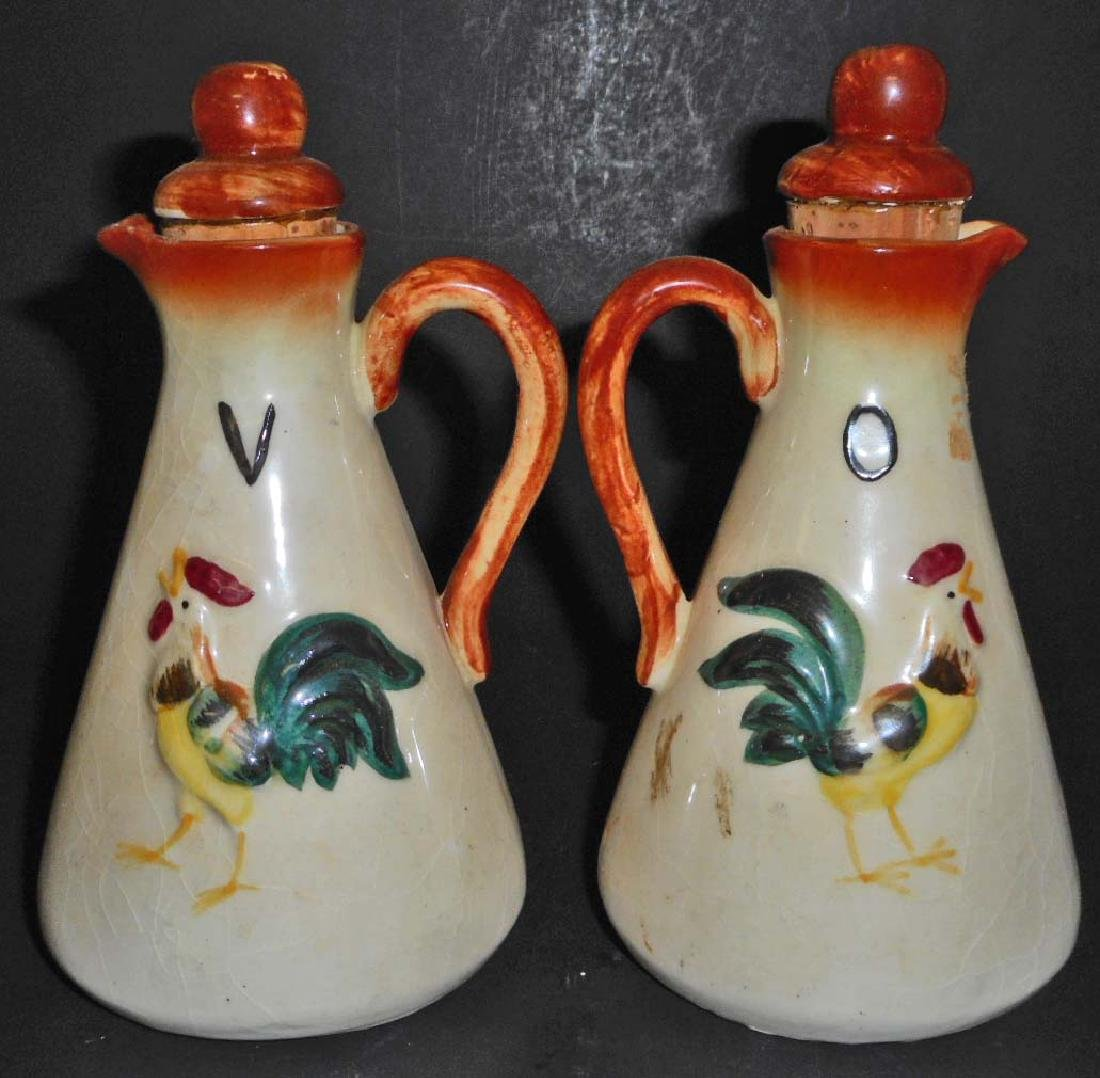 VINTAGE ROOSTER OIL & VINEGAR BOTTLES