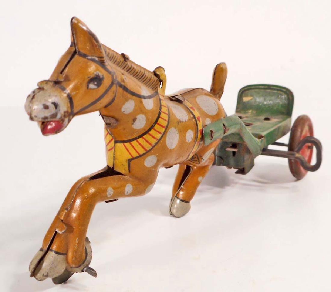 VINTAGE JAPAN TIN LITHO WIND-UP TOY HORSE PULLING CART