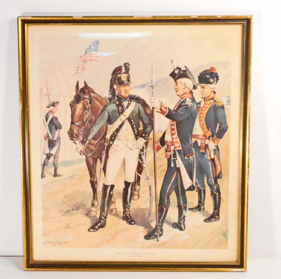 VINTAGE CAVALRY INFANTRY ARTILLERY FRAMED LITHOGRAPH -