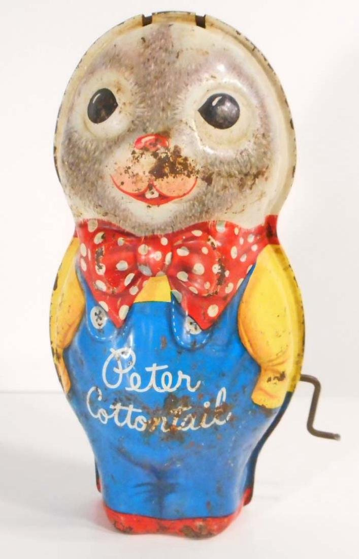 VINTAGE PETER COTTONTAIL TIN LITHO WIND-UP MUSICAL TOY