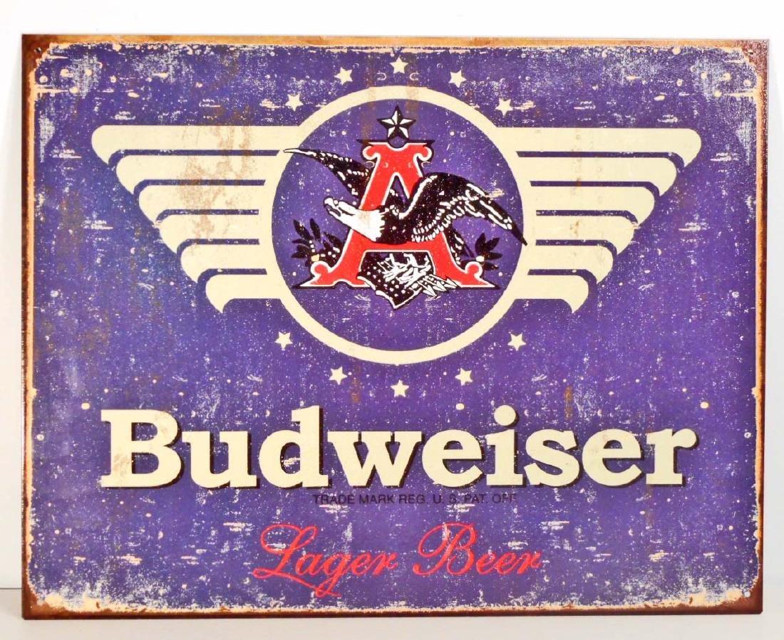 BUDWEISER BEER METAL ADVERTISING SIGN - 12.5X16