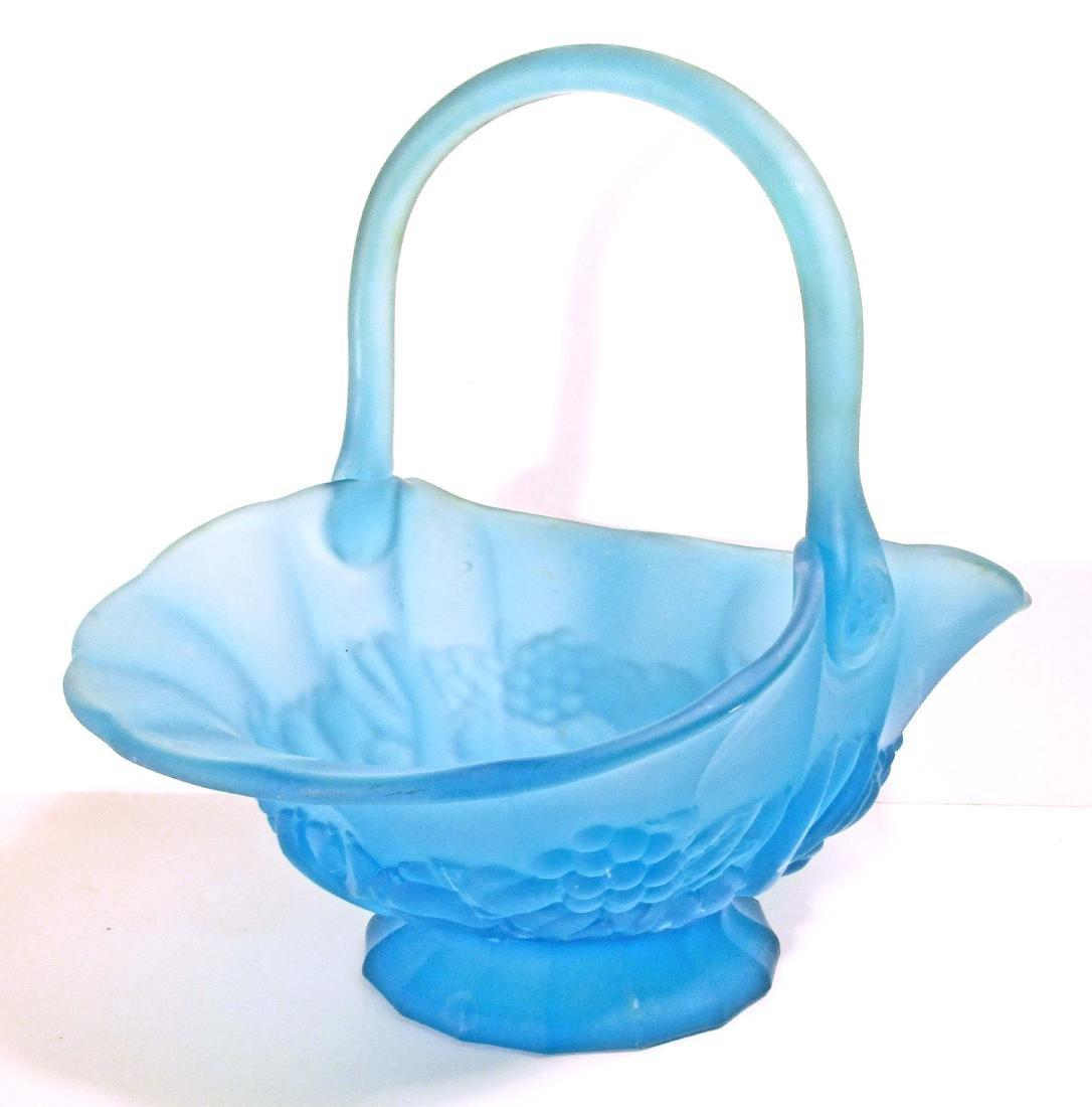 LARGE VINTAGE BLUE SATIN GLASS ART GLASS BASKET