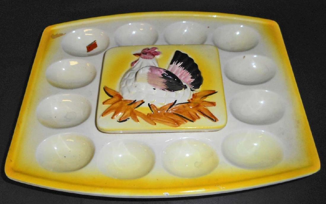 VINTAGE JAPAN EGG PLATE W/ COVERED CENTER FOR DIP