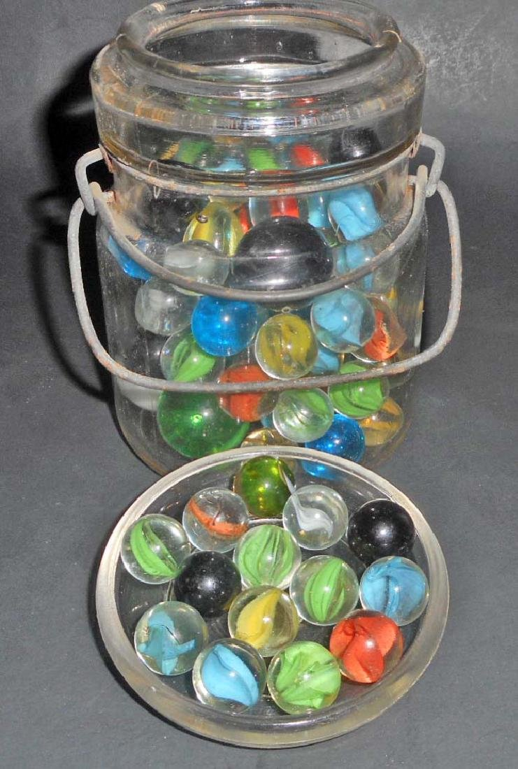 VINTAGE GLASS JAR FILLED WITH VINTAGE MARBLES