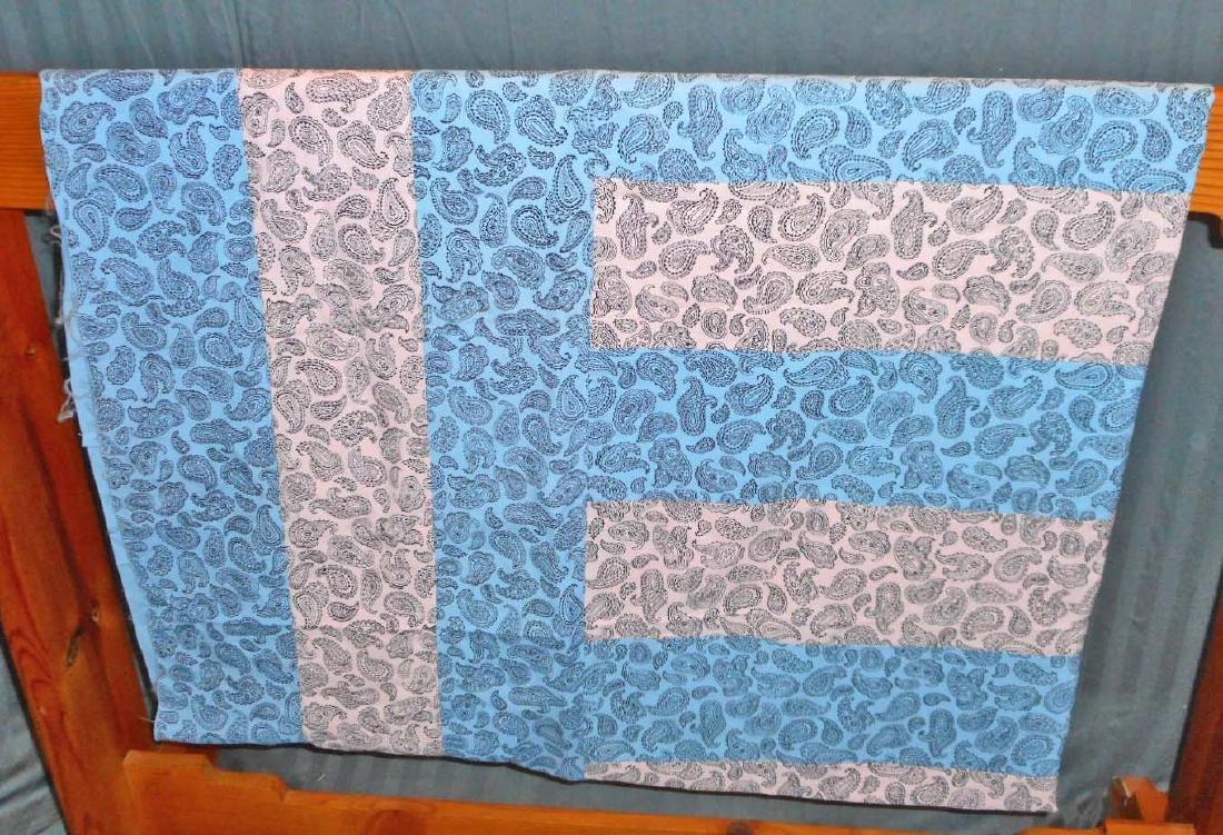 VINTAGE PINK & BLUE PAISLEY QUILT TOP