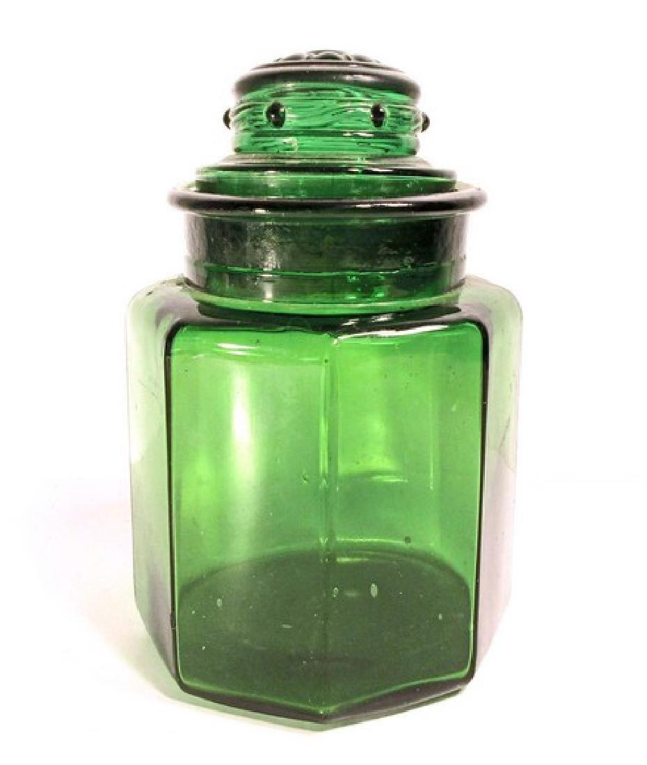 VINTAGE GREEN ART GLASS COUNTER JAR W/ LID