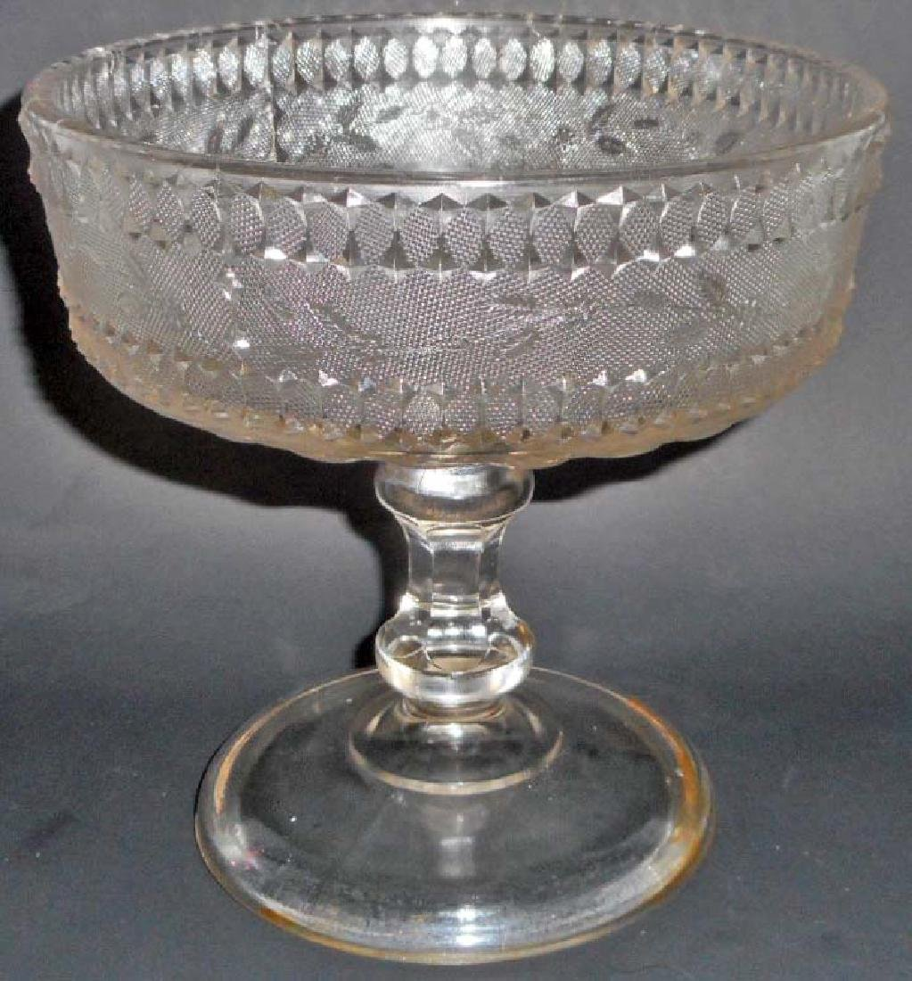 ANTIQUE C 1880S STIPPLED FORGET ME NOT PEDESTAL BOWL BY