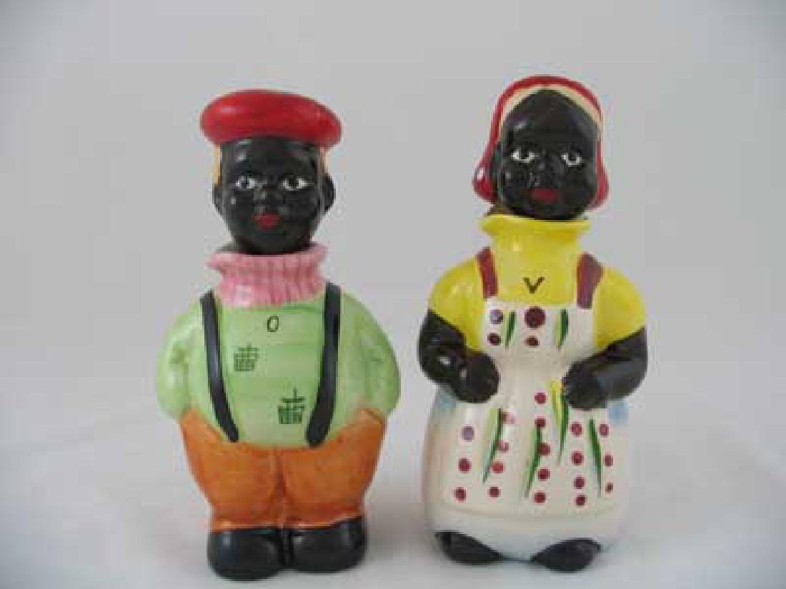 BLACK AMERICANA PORCELAIN BOY AND GIRL OIL AND VINEGAR
