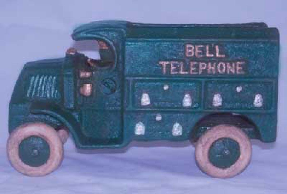 CAST IRON BELL TELEPHONE TRUCK TOY