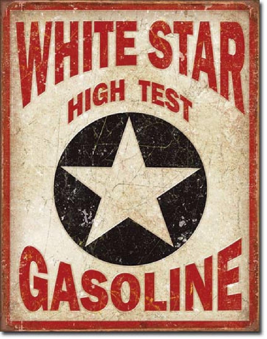 "WHITE STAR GASOLINE METAL SIGN 12.5"" X 16"""