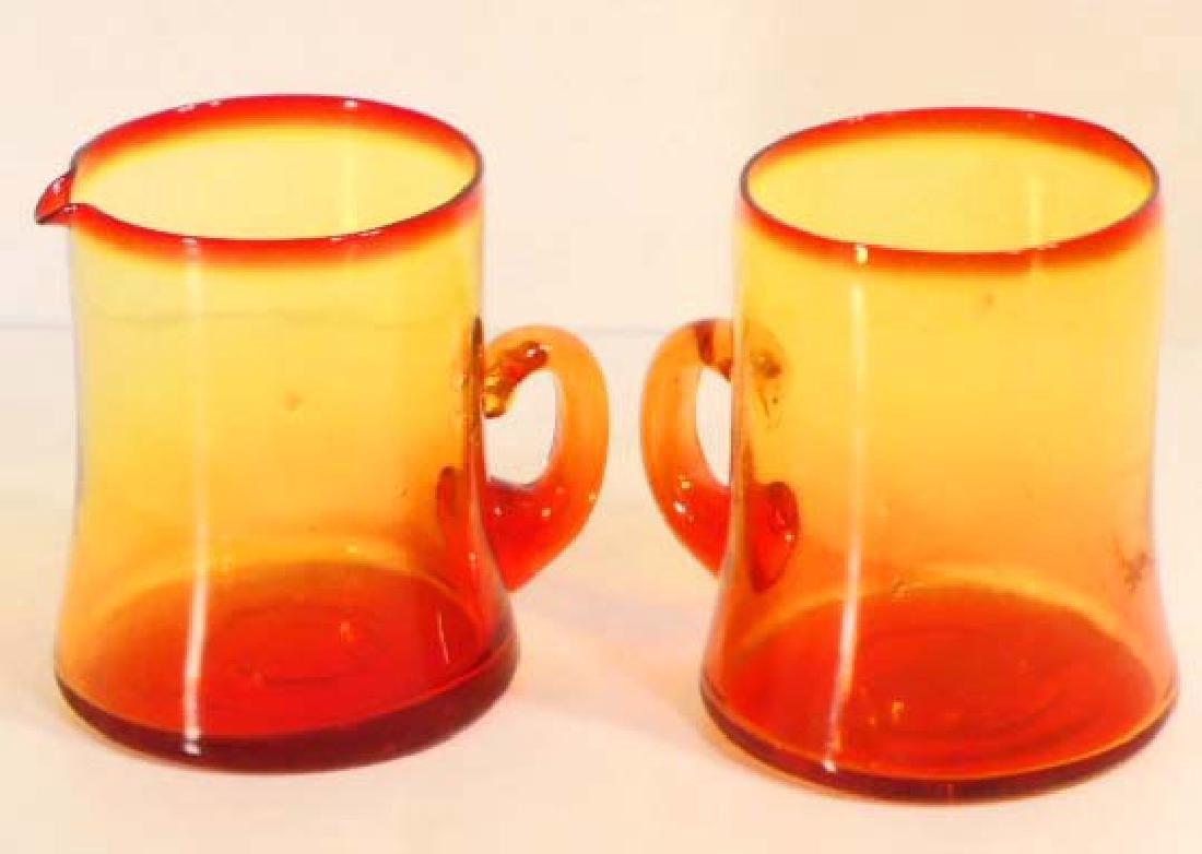 VINTAGE C. 1940S RED & YELLOW KANAWHA ART GLASS CREAMER