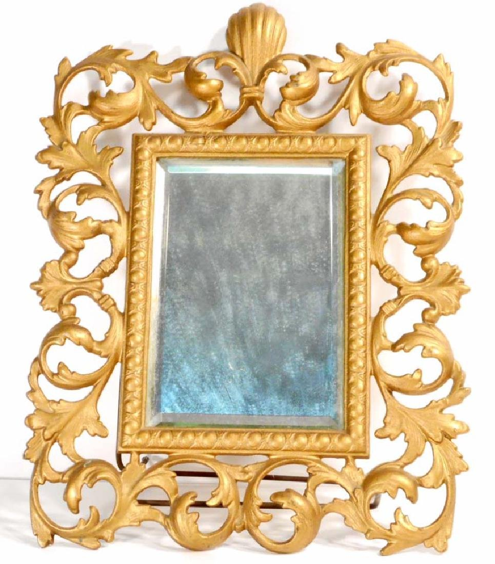 VINTAGE BEVELED GLASS ORNATE BRASS MIRROR W/ STAND