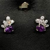 PAIR OF WHITE GOLD OVER STERLING SILVER PURPLE AMETHYST