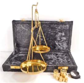 SOLID BRASS GOLD SCALE IN VELVET CASE - 2 OZ.