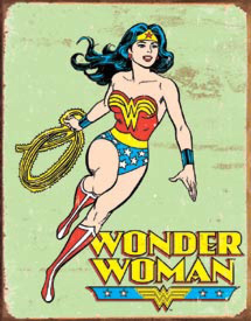"WONDER WOMAN METAL SIGN 12.5"" X 16"""