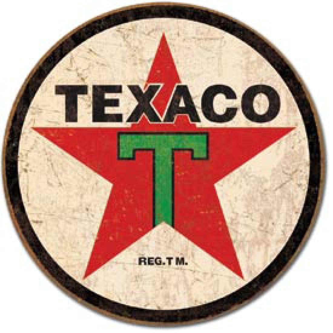 "TEXAC0 METAL SIGN 12"" ROUND"