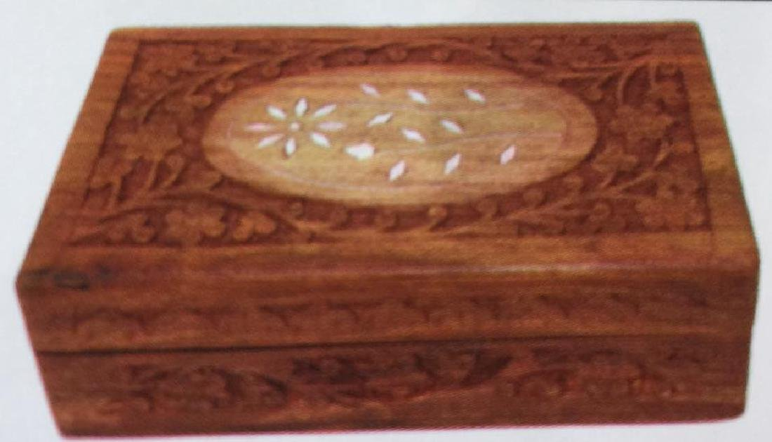 LOT OF 3 SMALL ORNATELY CARVED WOODEN BOXES